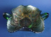 Fenton Green Carnival Glass 'Lotus and Grape' Two Handled Bonbon Dish